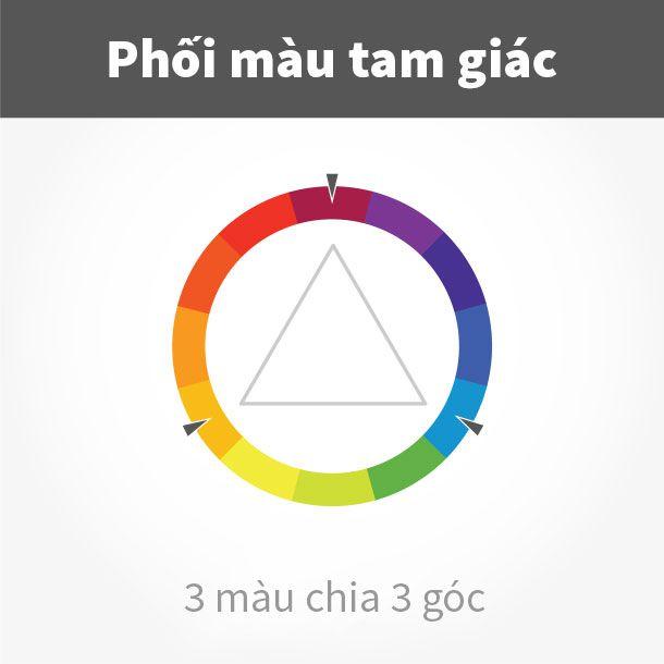 phối màu theo bộ 3 tam giác